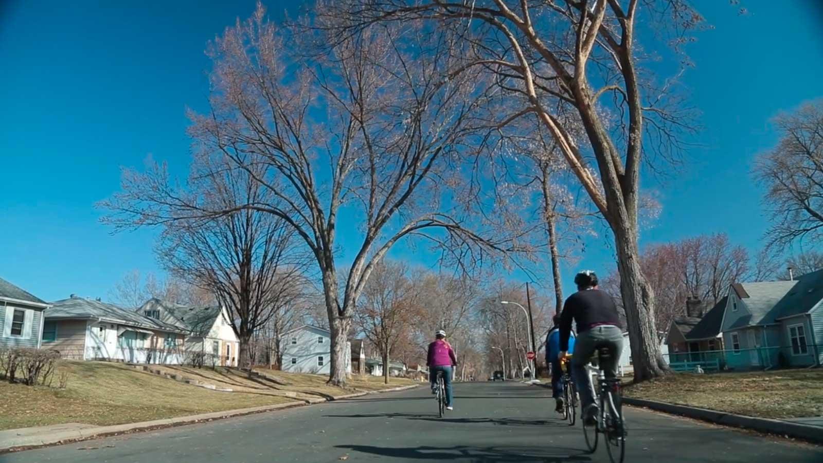 Riding on a minor Richfield street